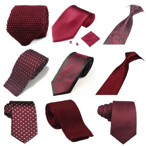 Wine red Collection Woven Paisley Jacquard Silk Knitted Satin Tie Wedding lot